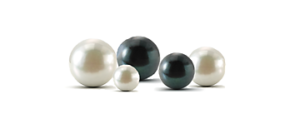 White and black round cultured pearls.