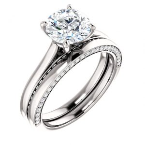 Platinum and diamond engagement/ wedding ring set.