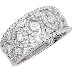 Rhodium plated sterling silver cubic zirconia ring. Stuller